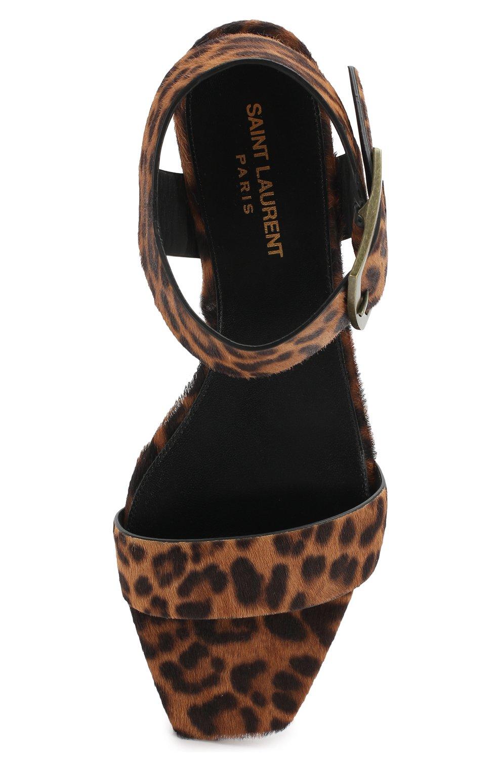 Кожаные сандалии Saint Laurent коричневые | Фото №5