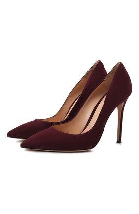 Женская замшевые туфли gianvito 105  GIANVITO ROSSI бордового цвета, арт. G28470.15RIC.CAMR0YA | Фото 1