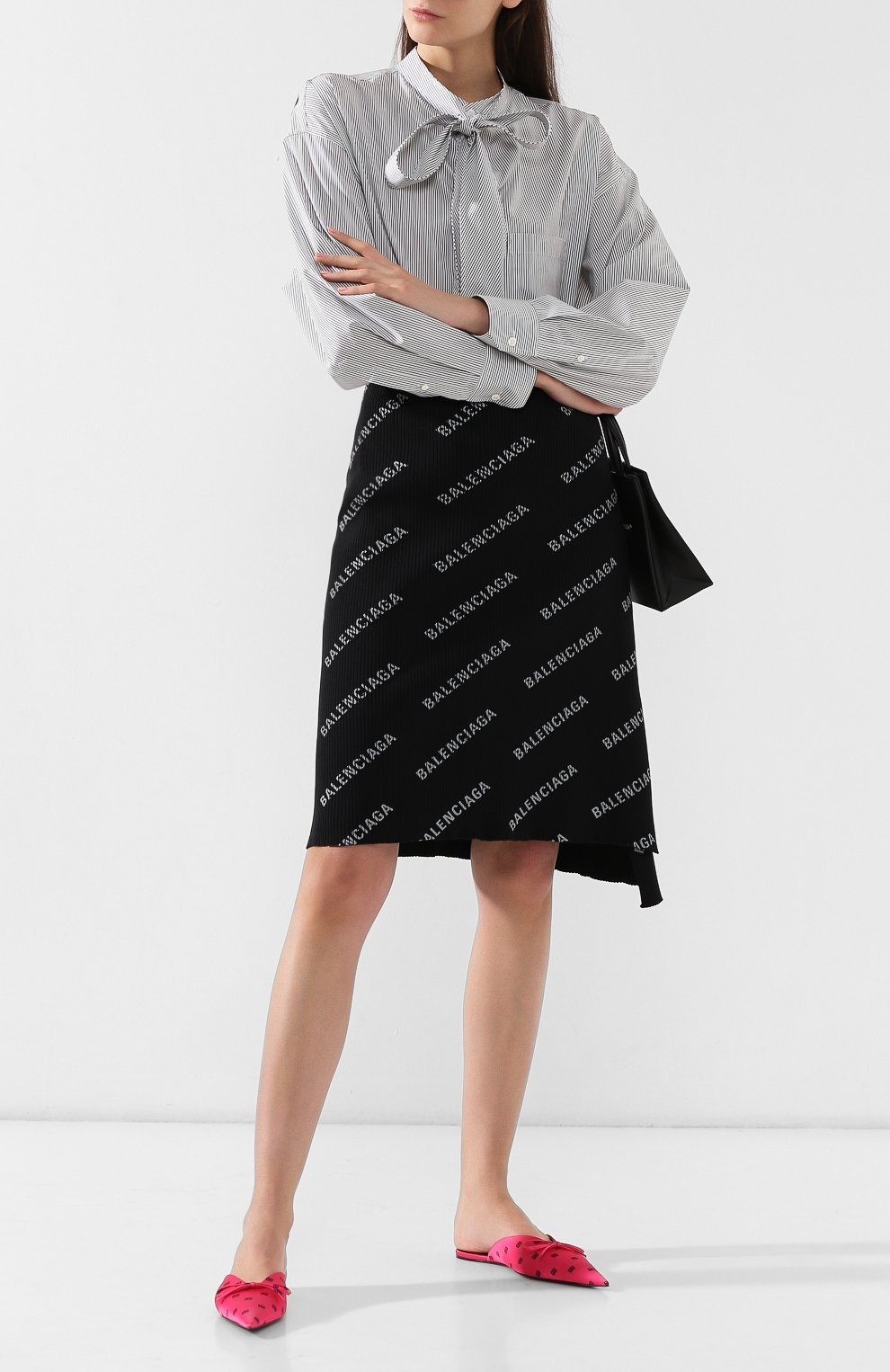 Текстильные сабо Knife Balenciaga фуксия   Фото №2