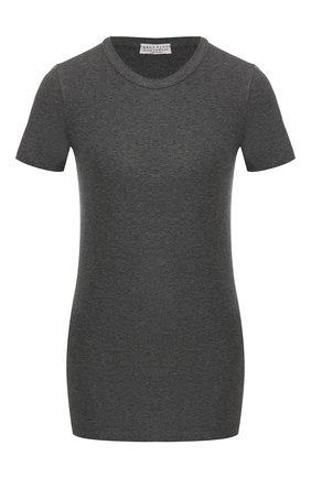 Женская хлопковая футболка BRUNELLO CUCINELLI темно-серого цвета, арт. MPT18B0170   Фото 1 (Силуэт Ж (для верхов): Приталенный; Рукава: Короткие; Материал внешний: Хлопок; Длина (для топов): Стандартные; Стили: Минимализм, Кэжуэл; Принт: Без принта)