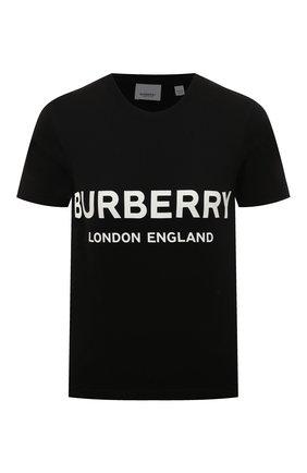 Женская хлопковая футболка BURBERRY черного цвета, арт. 8011651 | Фото 1 (Длина (для топов): Стандартные; Рукава: Короткие; Материал внешний: Хлопок; Стили: Кэжуэл)