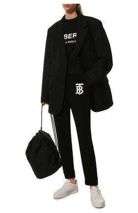Женская хлопковая футболка BURBERRY черного цвета, арт. 8011651 | Фото 2 (Длина (для топов): Стандартные; Рукава: Короткие; Материал внешний: Хлопок; Стили: Кэжуэл)