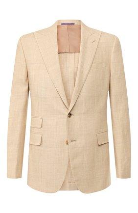 Мужской пиджак из смеси шерсти и шелка RALPH LAUREN бежевого цвета, арт. 798744085 | Фото 1