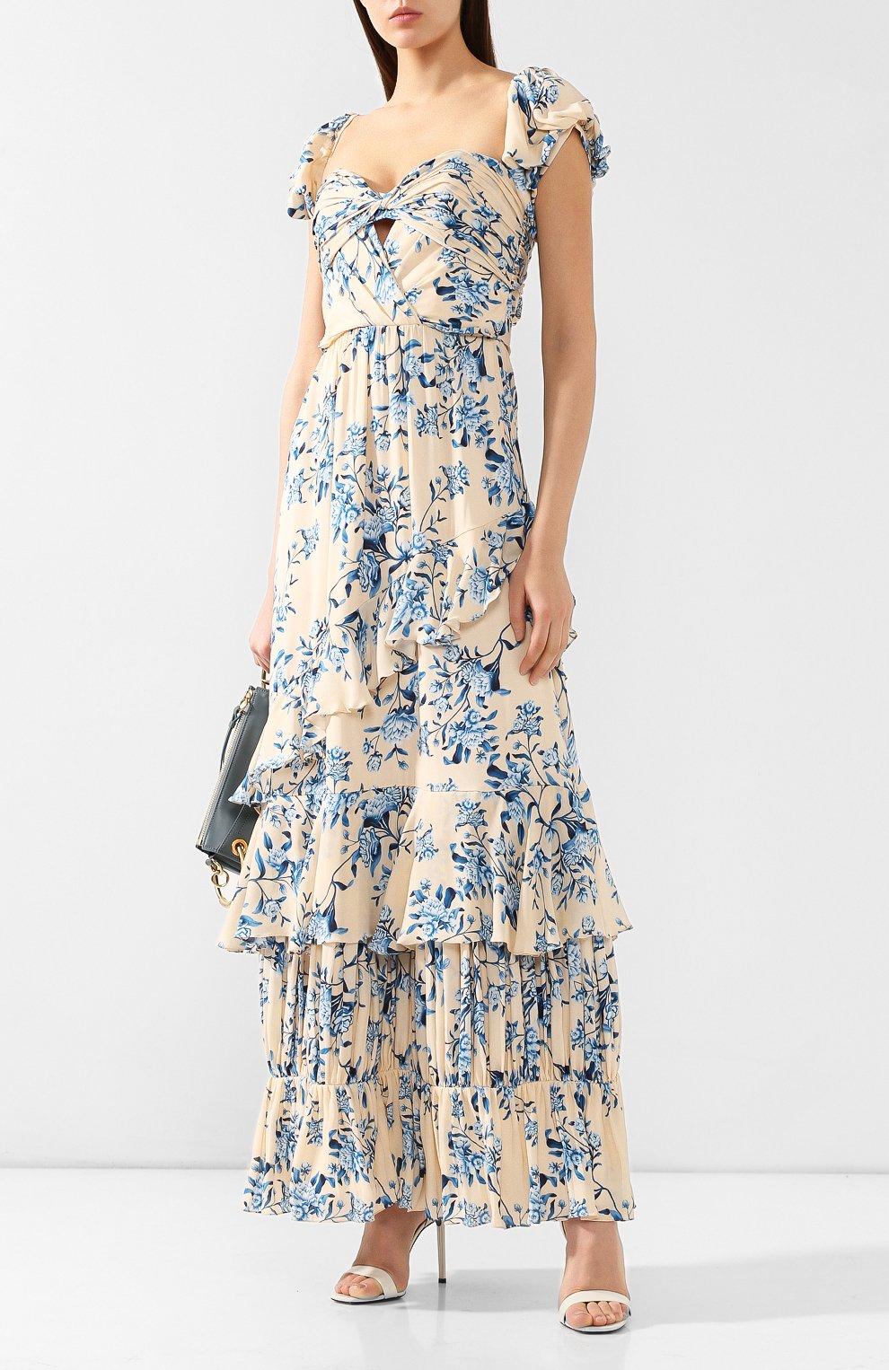 Шелковое платье Johanna Ortiz голубое | Фото №2