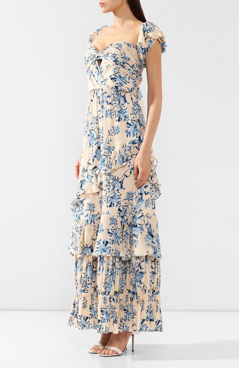 Шелковое платье Johanna Ortiz голубое | Фото №3
