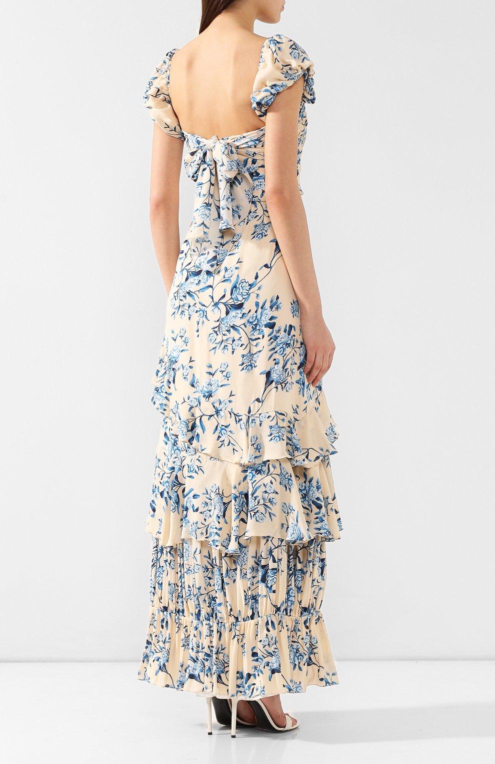 Шелковое платье Johanna Ortiz голубое | Фото №4