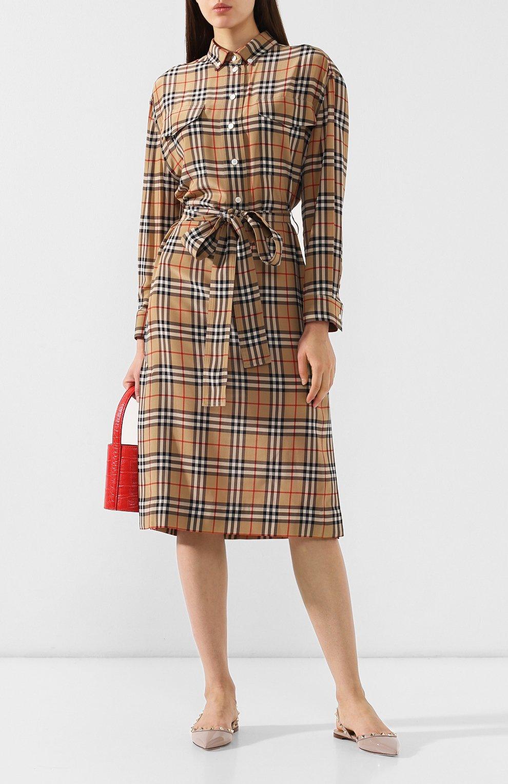 Шелковое платье Burberry бежевое | Фото №2