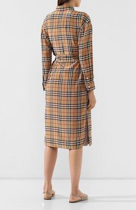 Шелковое платье Burberry бежевое | Фото №4