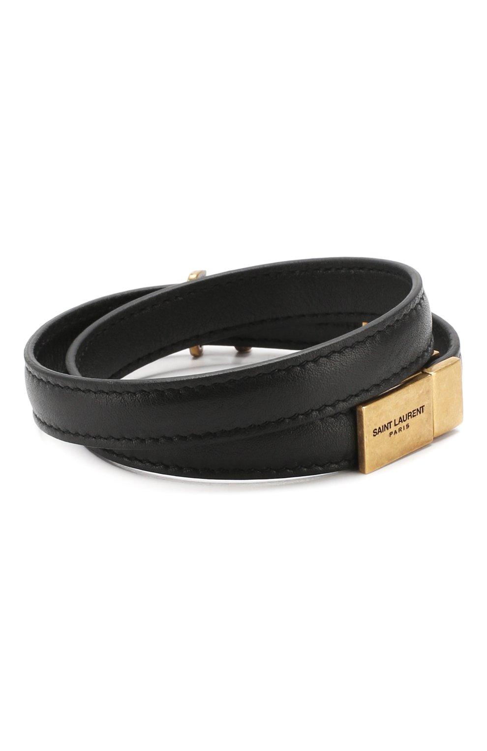 Кожаный браслет Saint Laurent черный   Фото №2