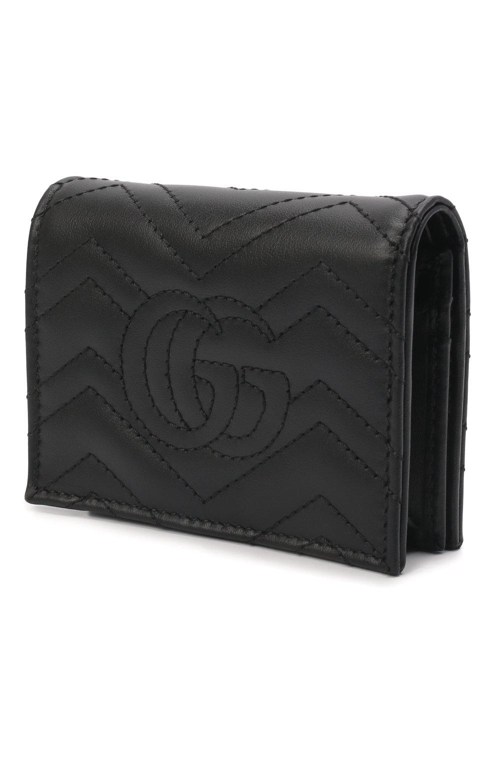 Кожаное портмоне GG Marmon Gucci черного цвета | Фото №2