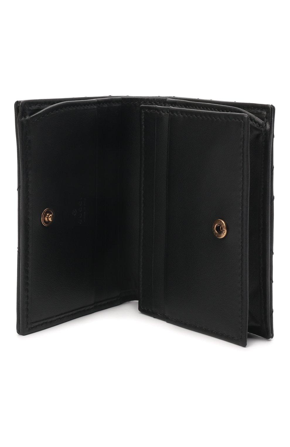 Кожаное портмоне GG Marmon Gucci черного цвета | Фото №3