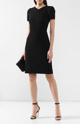 Женское шерстяное платье GIORGIO ARMANI черного цвета, арт. 9SHVA01S/T001T | Фото 2 (Материал внешний: Шерсть; Длина Ж (юбки, платья, шорты): До колена; Рукава: Короткие; Случай: Формальный; Статус проверки: Проверена категория)