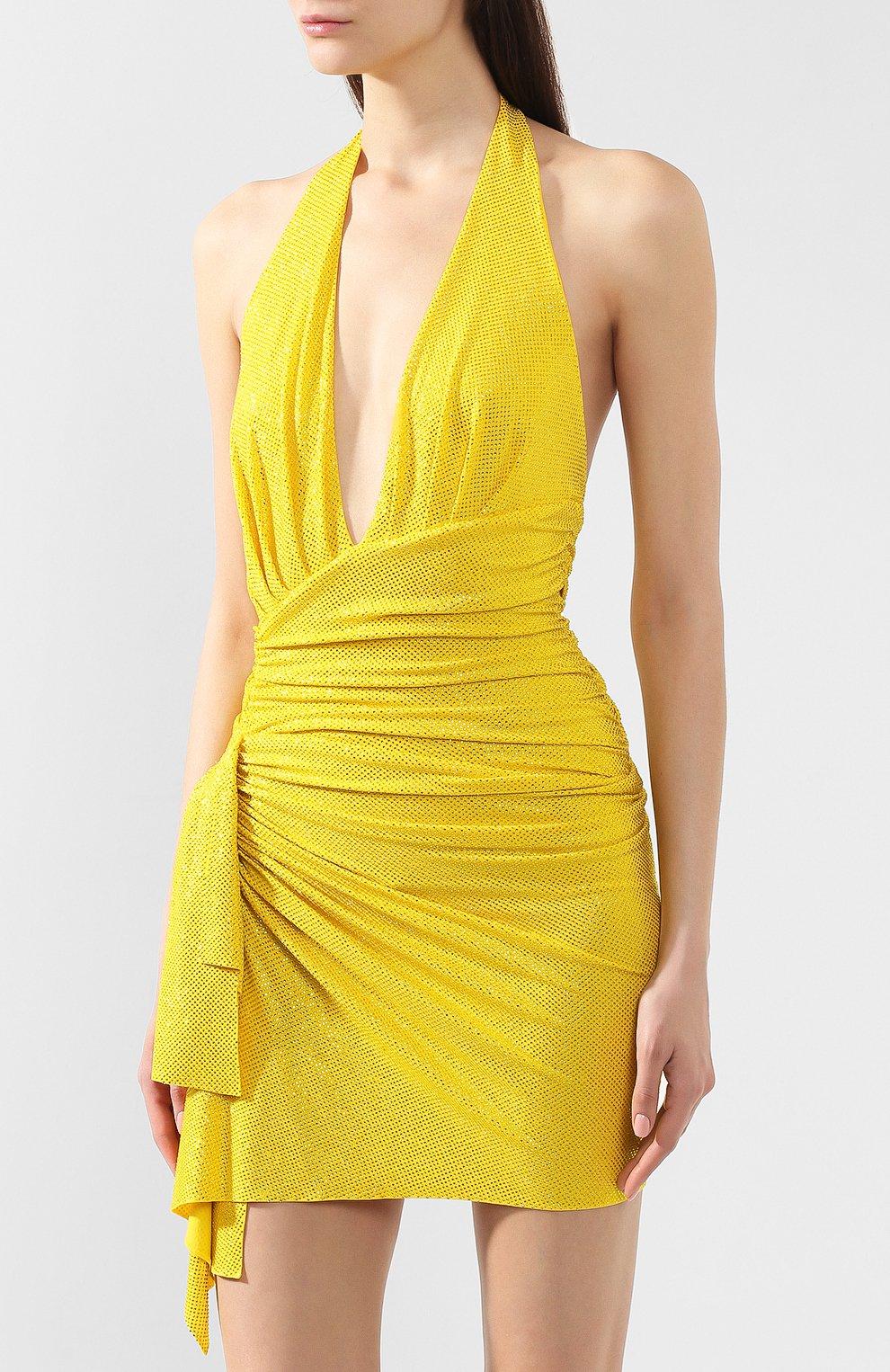 Мини-платье Alexandre Vauthier желтое | Фото №3