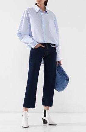 Хлопковая блузка Maison Margiela голубая | Фото №2