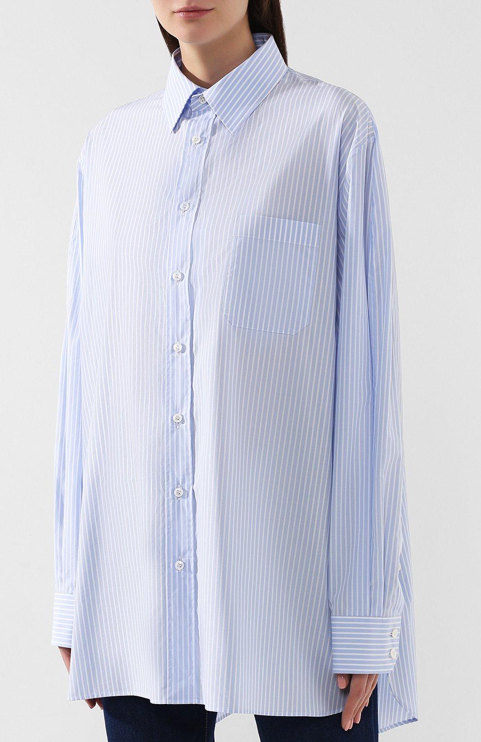 Хлопковая блузка Maison Margiela голубая | Фото №3