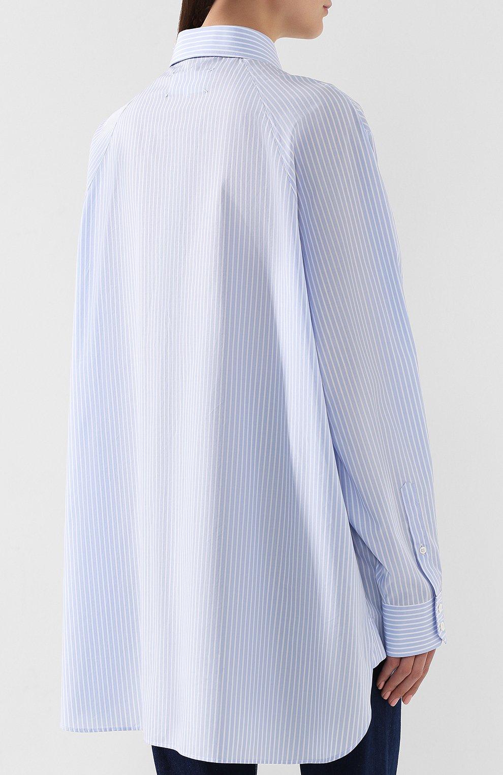 Хлопковая блузка Maison Margiela голубая | Фото №4