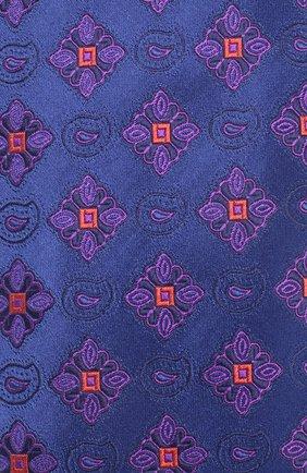 Шелковый галстук Isaia синего цвета | Фото №3