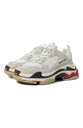 Мужские комбинированные кроссовки triple s BALENCIAGA белого цвета, арт. 533882/W09E1 | Фото 1