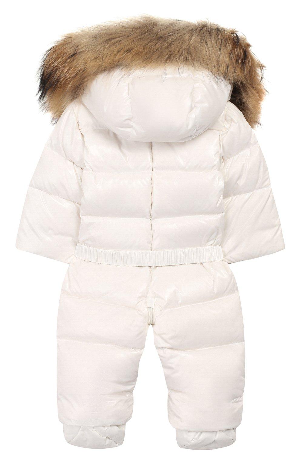 Детский пуховый комбинезон с пинетками MONCLER ENFANT белого цвета, арт. B2-951-14337-25-68950/3-18M | Фото 2