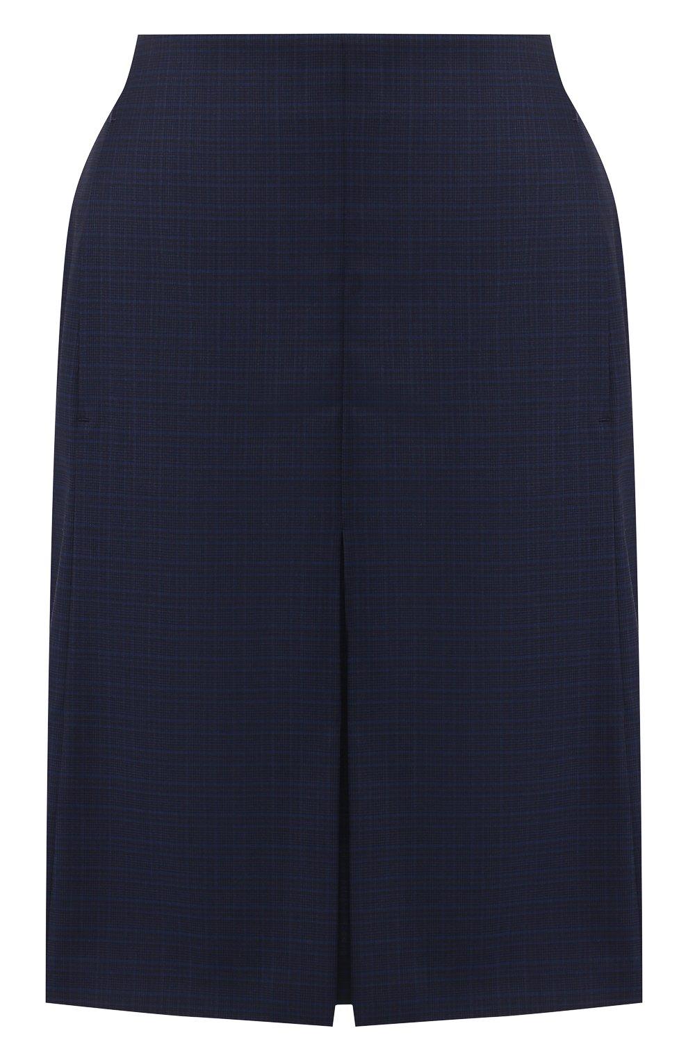 Женская шерстяная юбка BOSS темно-синего цвета, арт. 50410813 | Фото 1