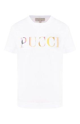 Хлопковая футболка Emilio Pucci белая | Фото №1