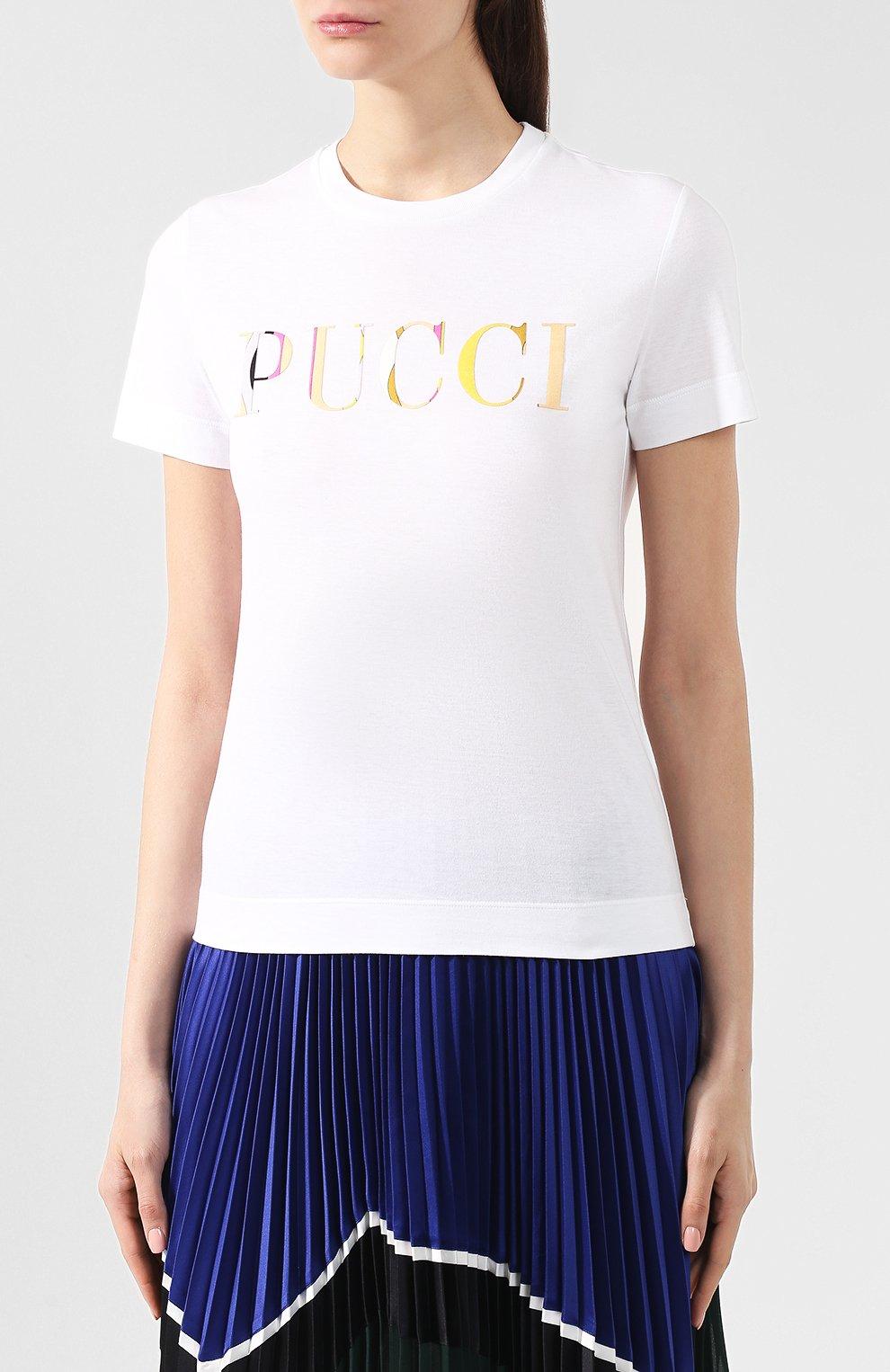 Хлопковая футболка Emilio Pucci белая | Фото №3
