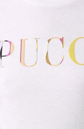 Хлопковая футболка Emilio Pucci белая | Фото №5