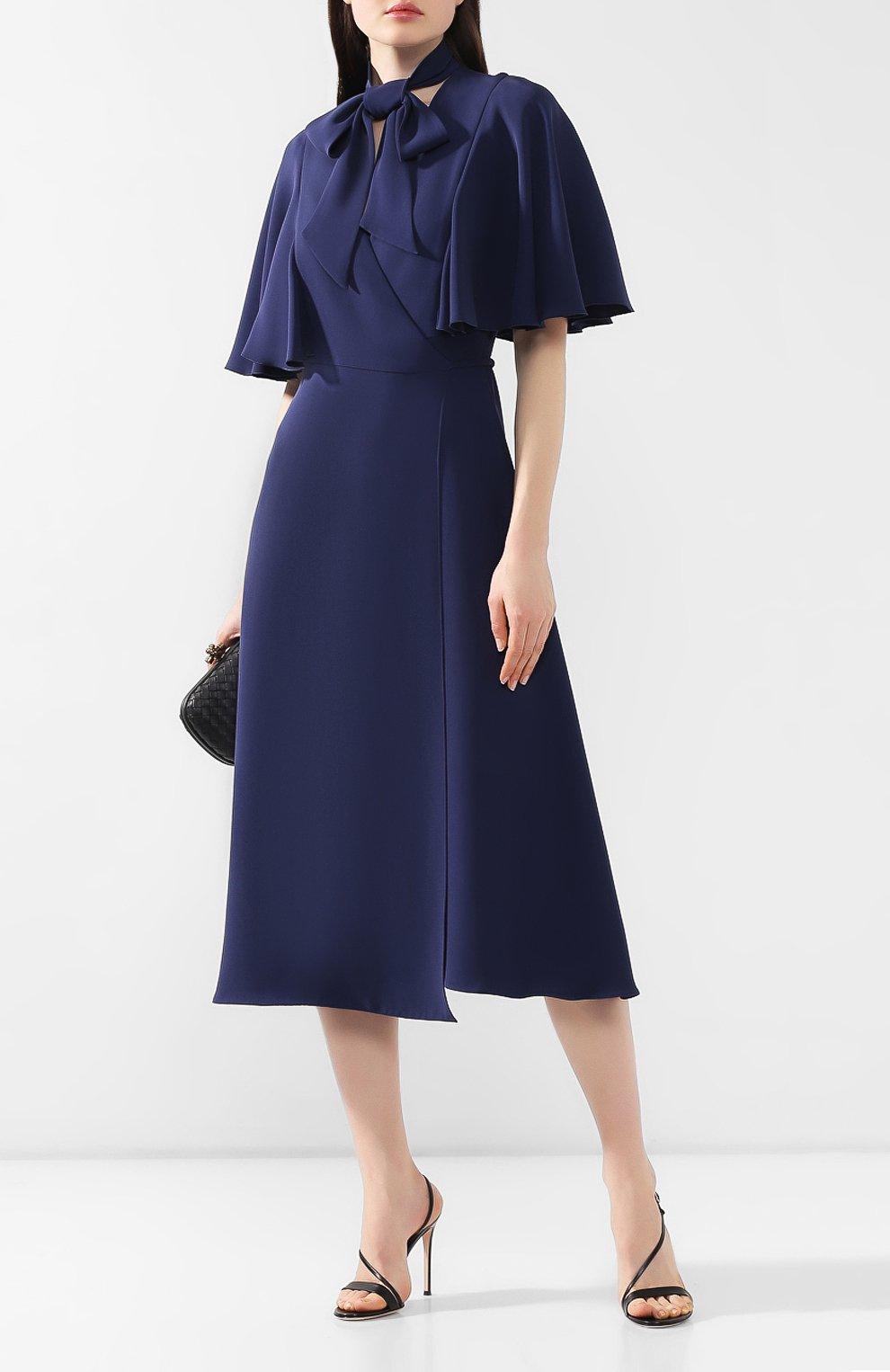 Шелковое платье Valentino темно-синее   Фото №2
