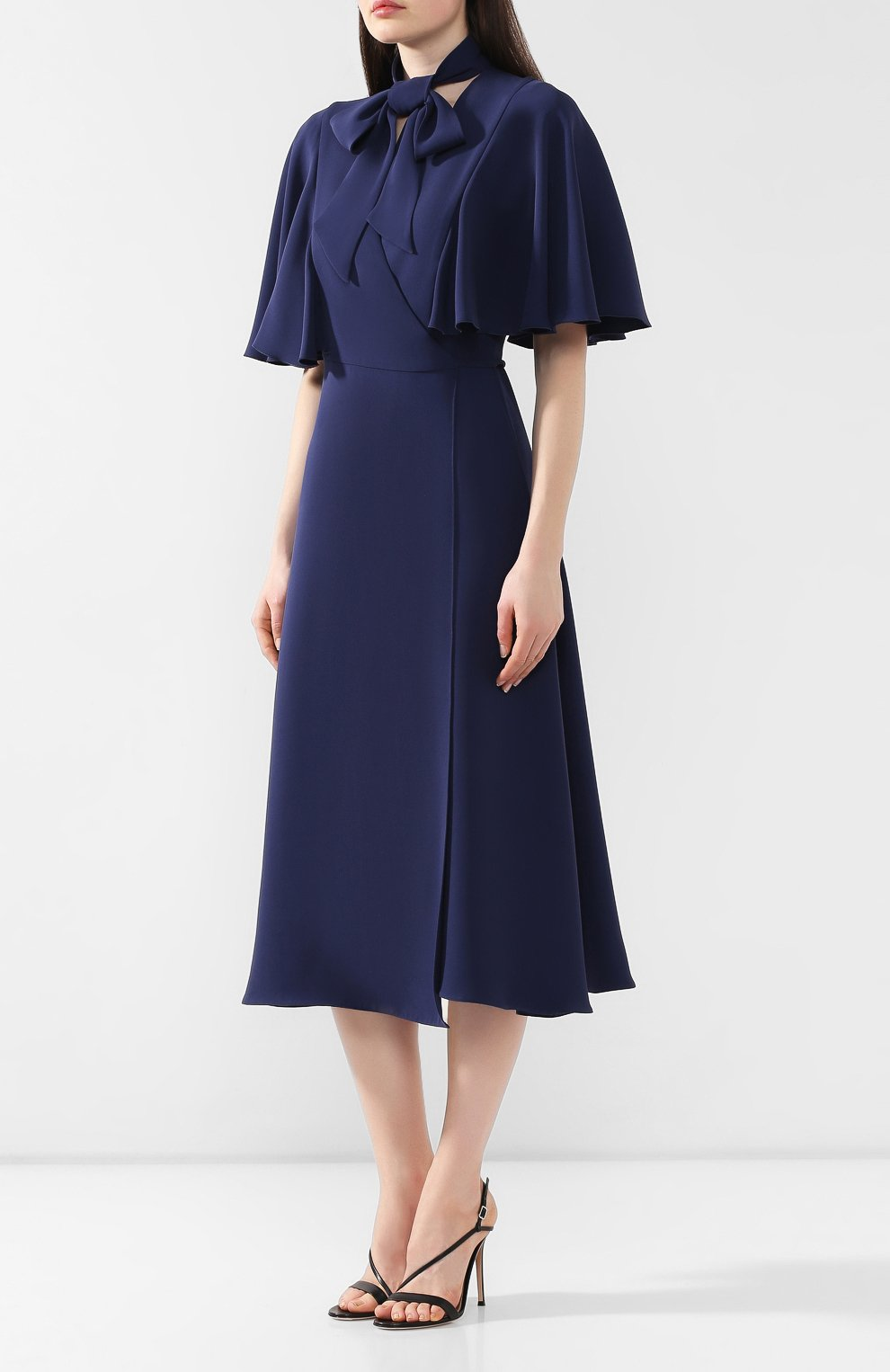 Шелковое платье Valentino темно-синее   Фото №3