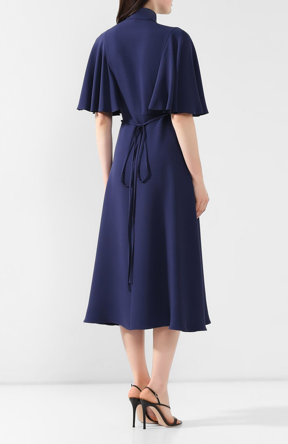 Шелковое платье Valentino темно-синее   Фото №4