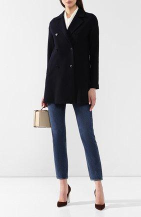 Женское шерстяное пальто LORO PIANA темно-синего цвета, арт. FAI0809 | Фото 2