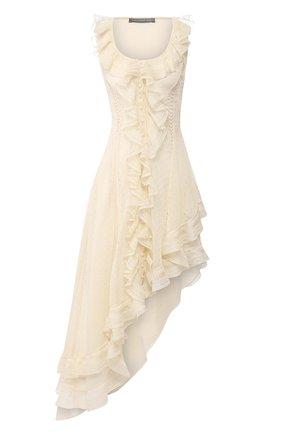 Шелковое платье Alexander McQueen кремовое | Фото №1