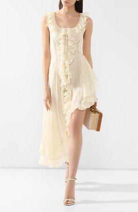 Шелковое платье Alexander McQueen кремовое | Фото №2