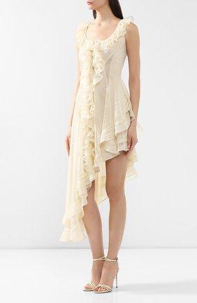 Шелковое платье Alexander McQueen кремовое | Фото №3
