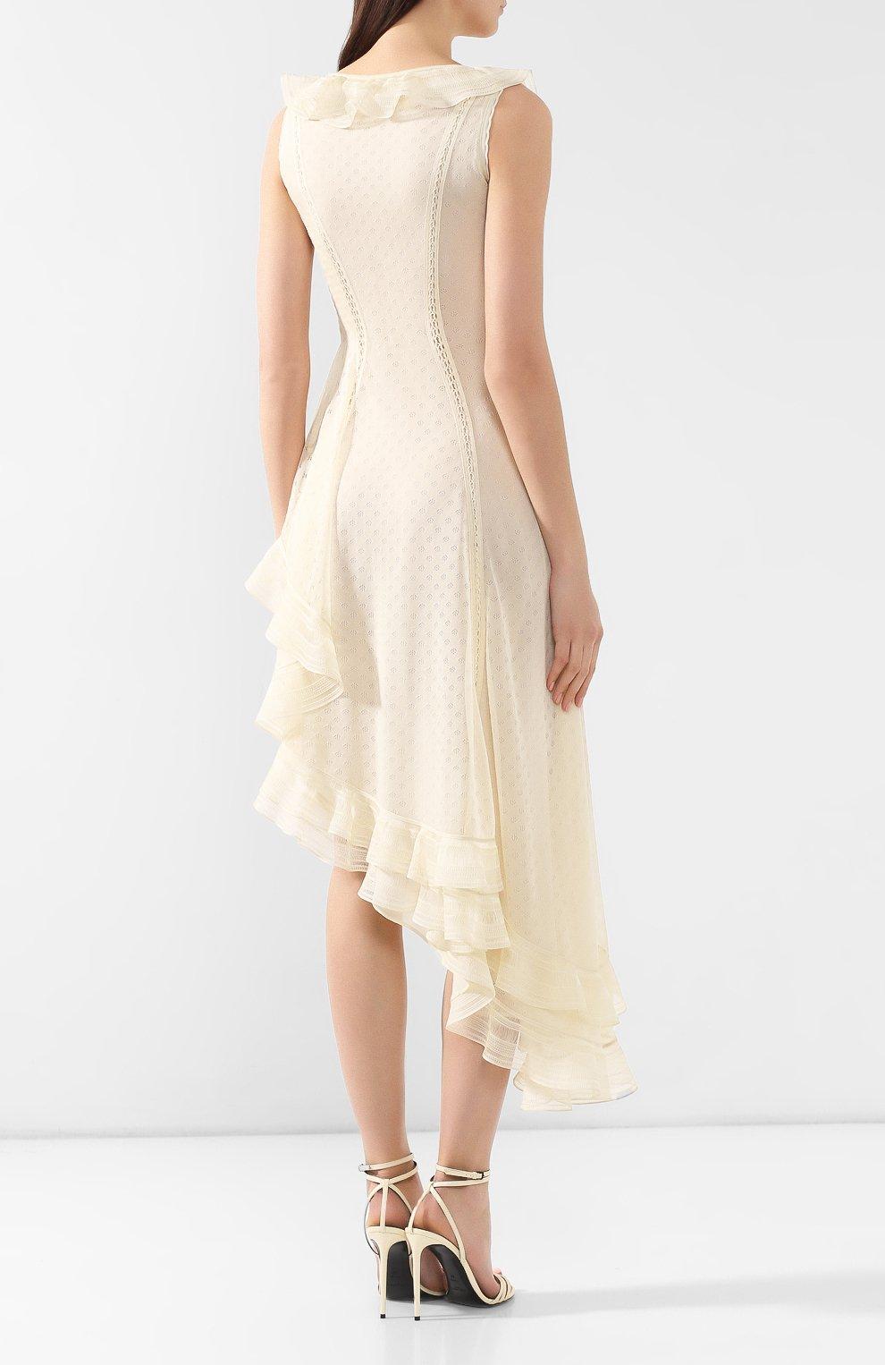 Шелковое платье Alexander McQueen кремовое | Фото №4