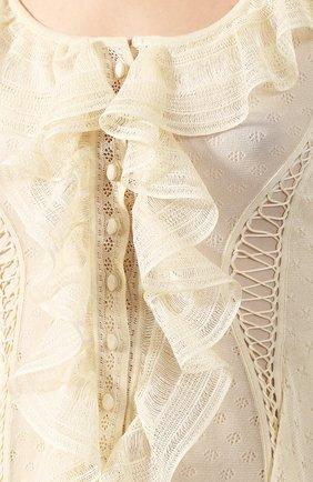 Шелковое платье Alexander McQueen кремовое | Фото №5