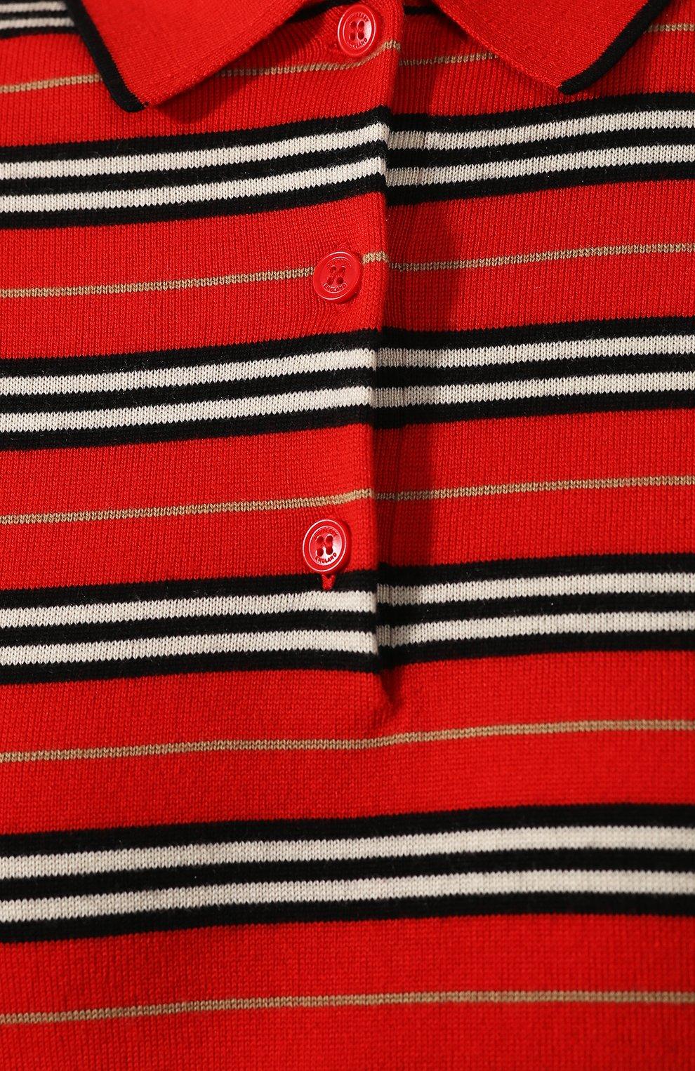 Шерстяное поло Burberry красное   Фото №5