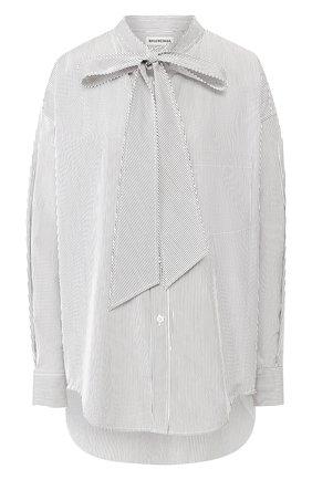 Хлопковая рубашка Balenciaga черно-белая | Фото №1
