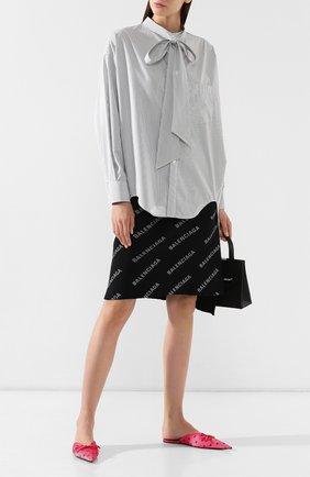 Хлопковая рубашка Balenciaga черно-белая | Фото №2