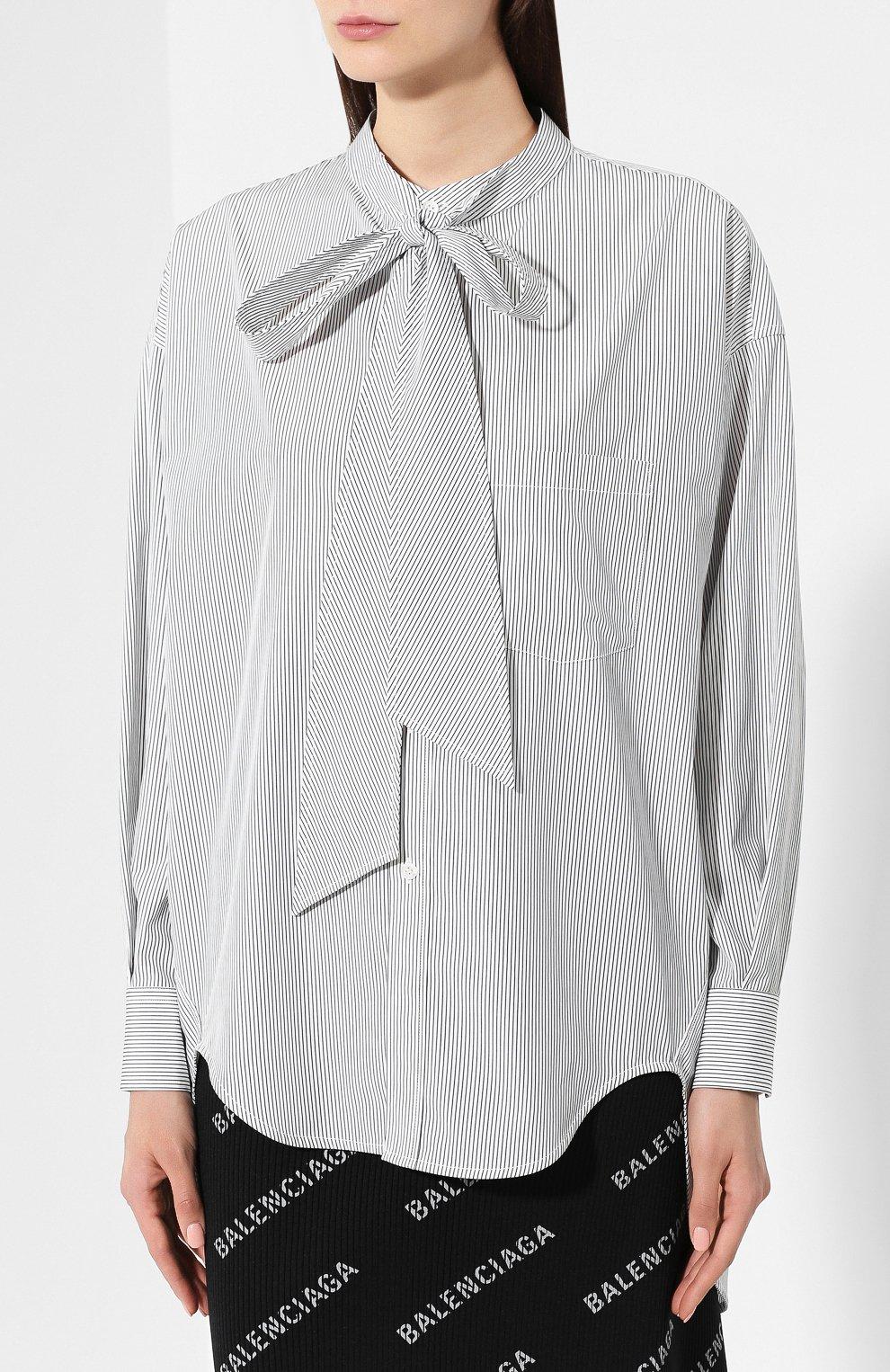 Хлопковая рубашка Balenciaga черно-белая | Фото №3