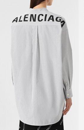 Хлопковая рубашка Balenciaga черно-белая | Фото №4