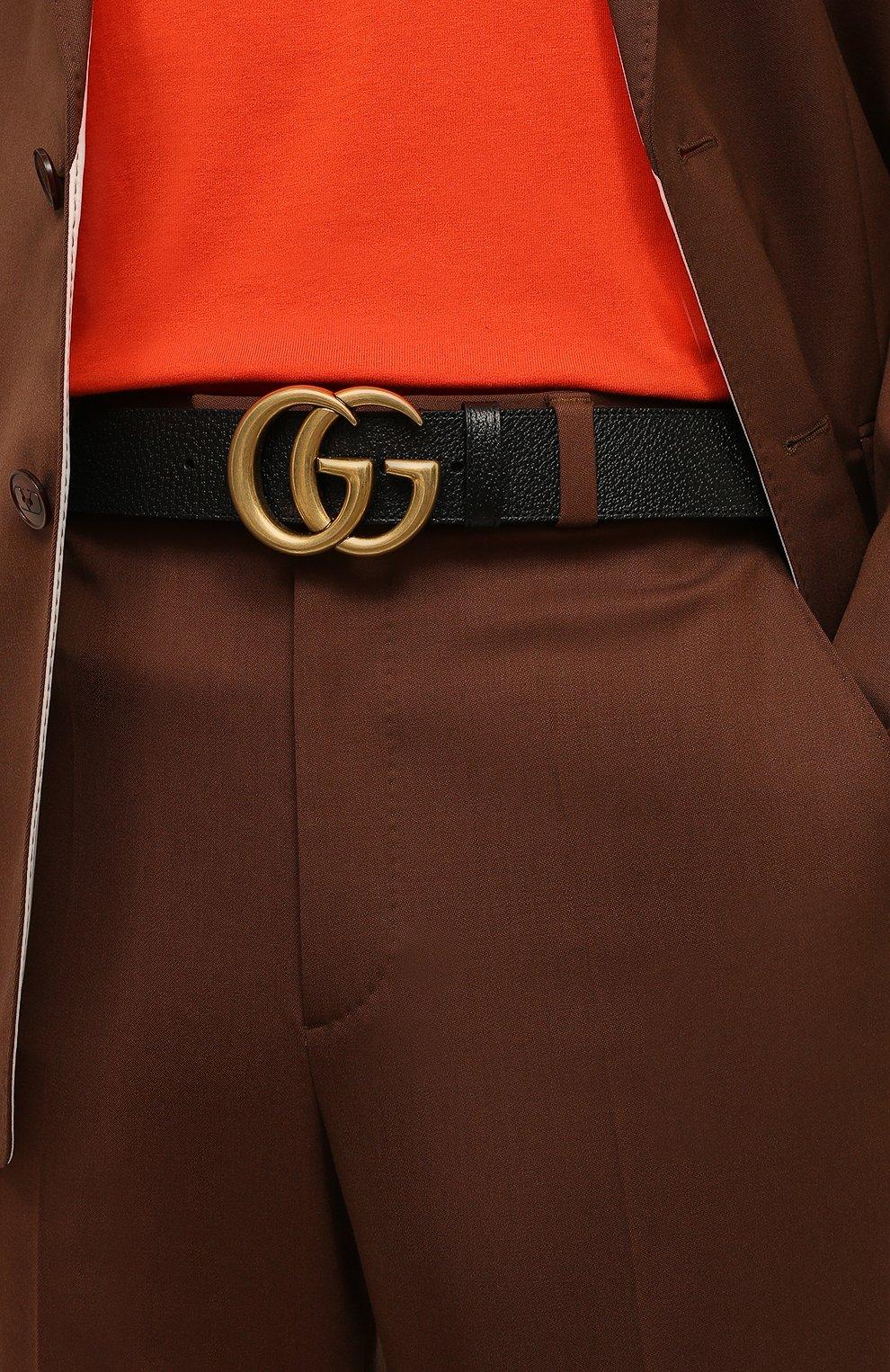 Мужской кожаный ремень GUCCI черного цвета, арт. 406831/DJ20T | Фото 2 (Случай: Повседневный; Статус проверки: Проверено)