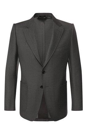 Мужской пиджак из смеси шерсти и шелка TOM FORD серого цвета, арт. 518R02/1DYJ40 | Фото 1