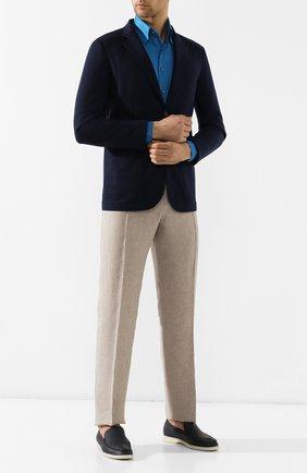 Мужская льняная рубашка ZILLI бирюзового цвета, арт. MFR-MERCU-17092/RZ01 | Фото 2