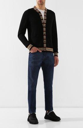 Мужские комбинированные кроссовки BURBERRY черного цвета, арт. 8010864 | Фото 2