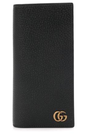 Мужской кожаное портмоне gg marmont GUCCI черного цвета, арт. 428740/DJ20T | Фото 1