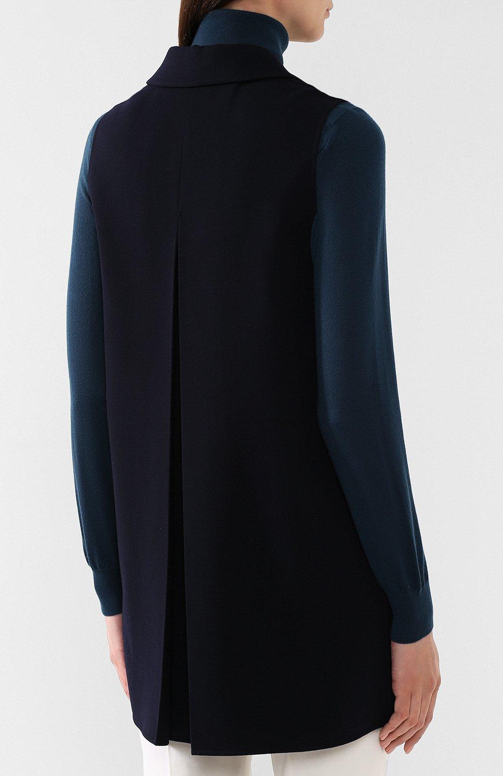 Женский шерстяной жилет LORO PIANA темно-синего цвета, арт. FAI1126 | Фото 4