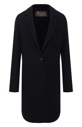 Женское шерстяное пальто LORO PIANA темно-синего цвета, арт. FAI0804 | Фото 1