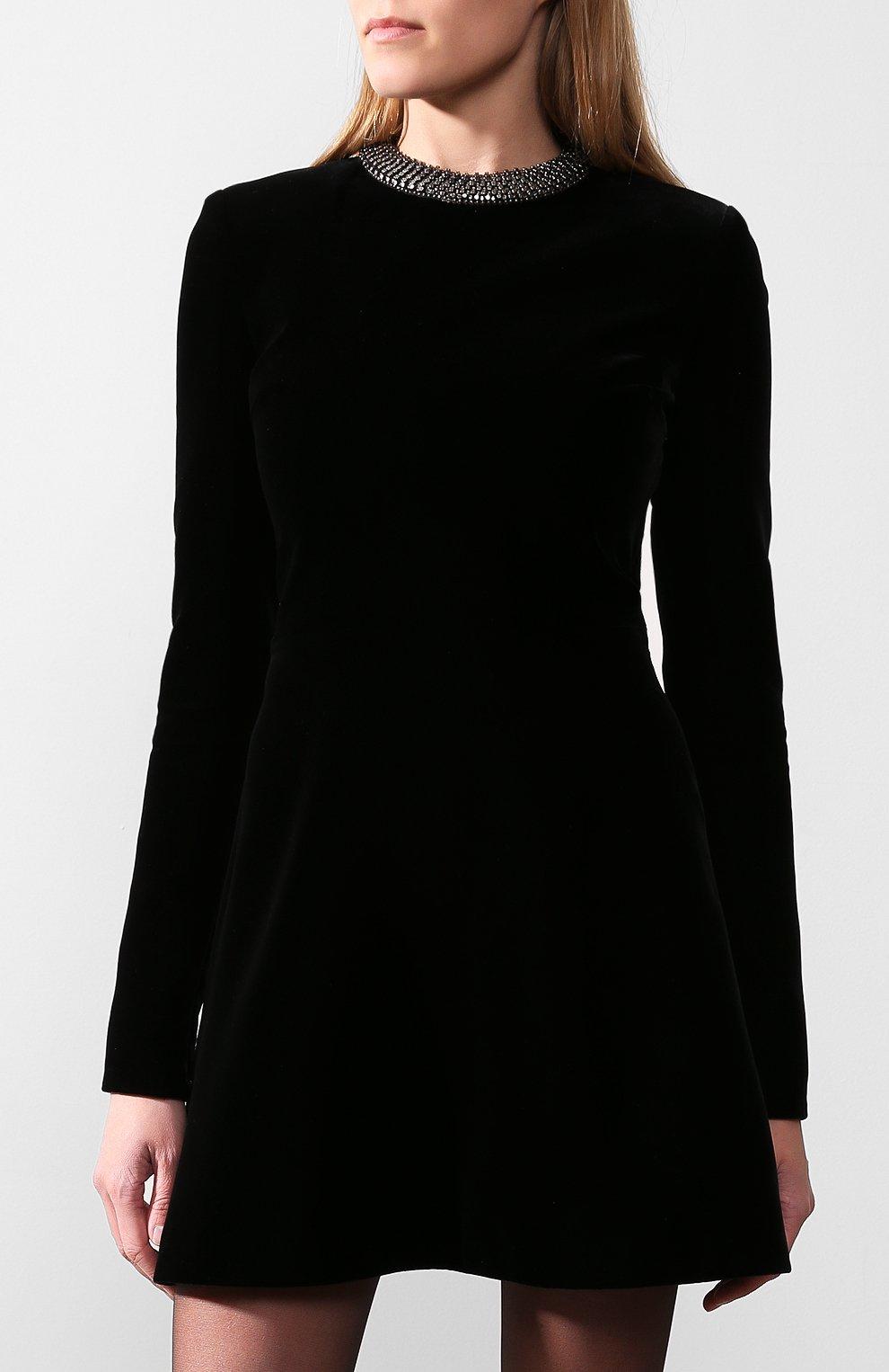 Бархатное платье Saint Laurent черное | Фото №2