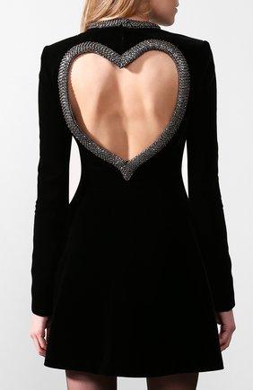 Бархатное платье Saint Laurent черное | Фото №3